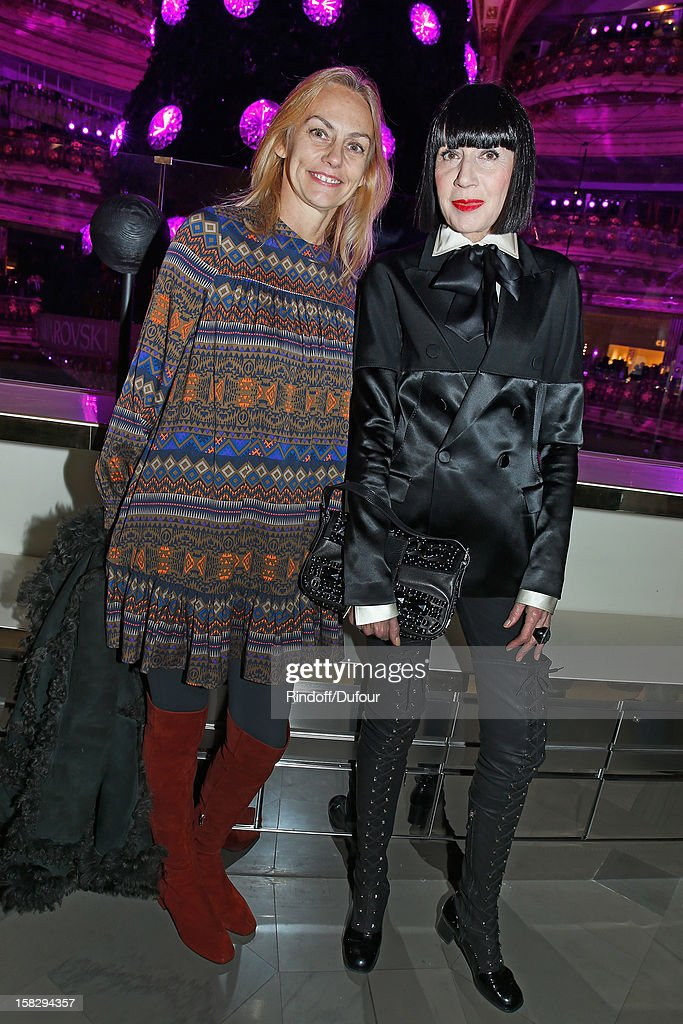 Fashion designers Gabriella Cortese (L) and Chantal Thomass attend the Galeries Lafayette 100th Anniversary Bal on December 12, 2012 in Paris, France.