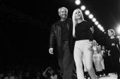 Fashion designers Gianni Versace and Donatella Versace on the runway after a Versace fashion show in March 1996 in New York City New York