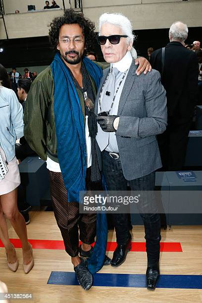 Fashion designers Haider Ackermann and Karl Lagerfeld attend the Dior Homme show as part of the Paris Fashion Week Menswear Spring/Summer 2015 on...