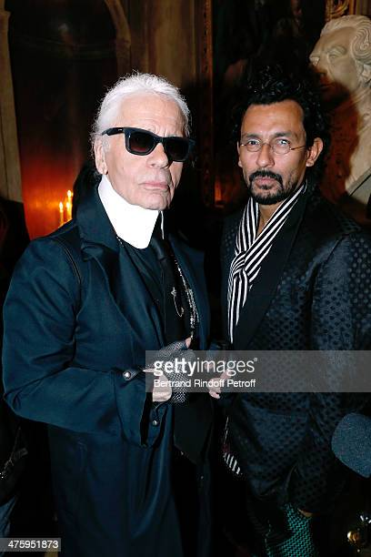 Fashion designers Karl lagerfeld and Haider Ackermann attending the Cocktail Dinatoire of German VOGUE in honor of Mario Testino at Restaurant 1728...