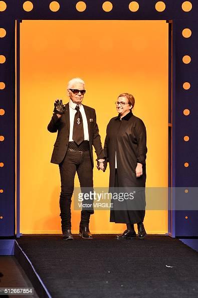 Fashion designers Karl Lagerfeld and Silvia Venturini Fendi walk the runway at the Fendi fashion show during Milan Fashion Week Fall/Winter 2016/2017...