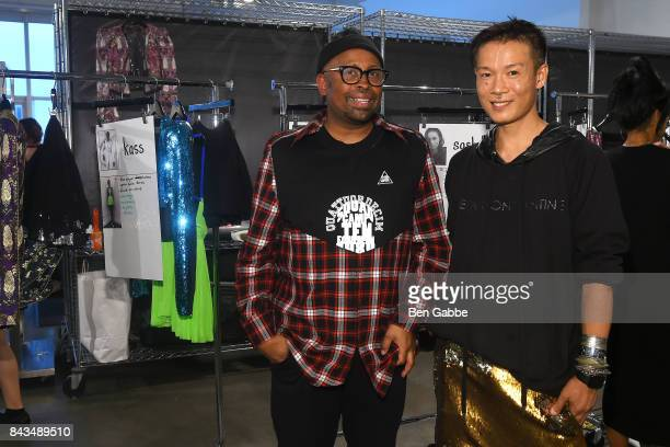 Fashion designers Kirk Pickersgill and Stephen Wong pose backstage at the Greta Constantine presentation during New York Fashion Week at Pier 59 on...