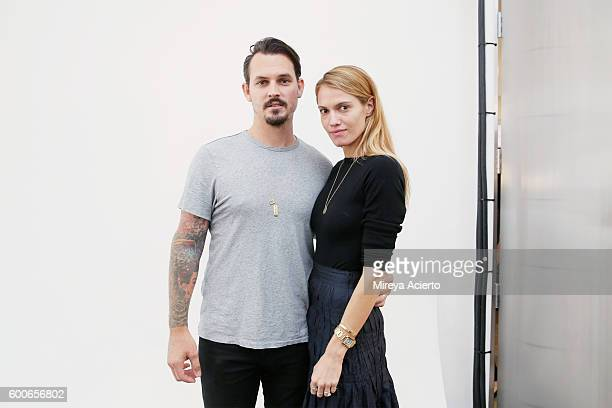 Fashion designers Kristopher Brock and Laura Vassar pose backstage at Brock Collection fashion show during MADE Fashion Week September 2016 at Milk...
