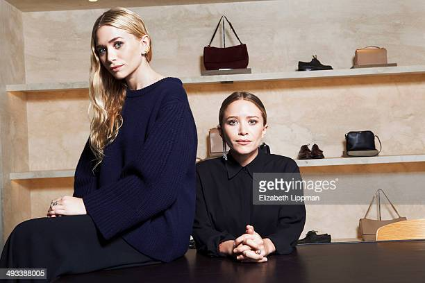 Fashion designers Mary Kate Olsen and Ashley Olsen are photographed for Wall Street Journal on May 2 2014 in New York City PUBLISHED IMAGE ON EMBARGO...