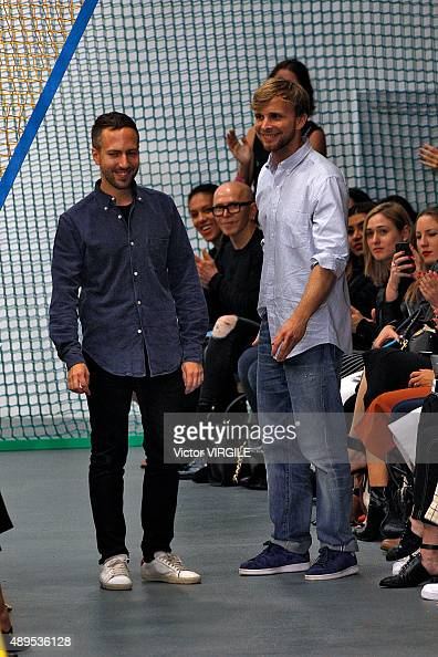 Fashion designers Peter Pilotto and Christopher De Vos walk the runway at the Peter Pilotto Ready to Wear show during London Fashion Week...