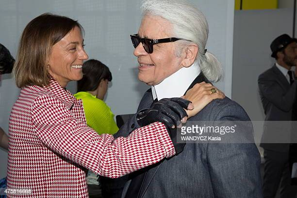 Fashion Designers Prize 2015 at the Foundation Louis Vuitton Phoebe Philo and Karl LKagerfeld in may 22 2015 in Paris France