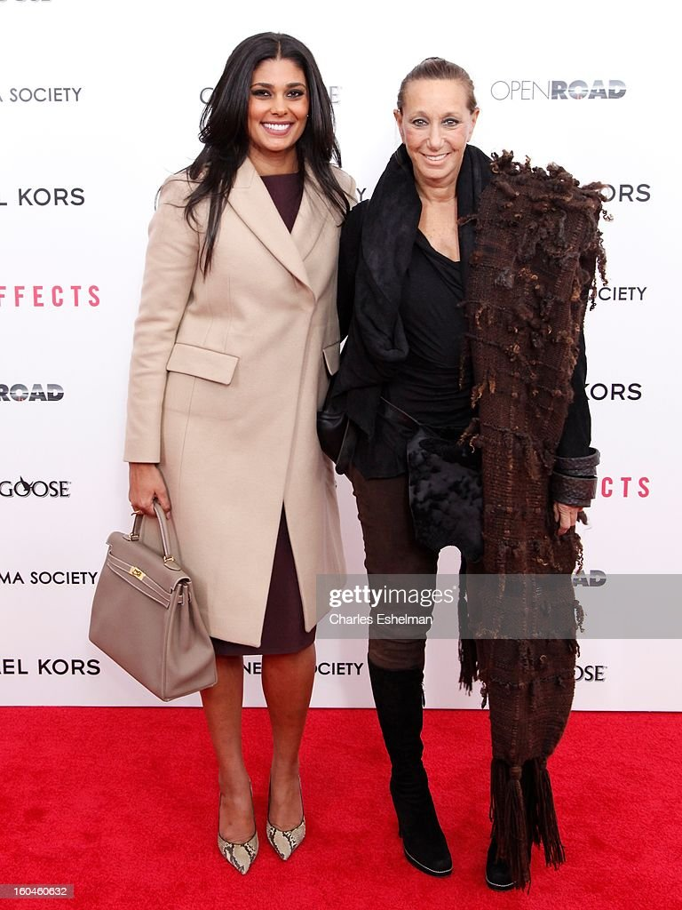 Fashion designers Rachel Roy and Donna Karan attend the Open Road, The Cinema Society & Michael Kors premiere of 'Side Effects' at AMC Loews Lincoln Square on January 31, 2013 in New York City.