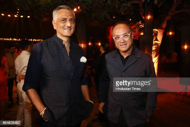 Fashion designers Rakesh Thakore and David Abraham during an art exhibition organised by veteran artist Satish Gujral on September 22 2017 in New...