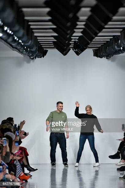 Fashion designers Rob Jones and Catherine Teatum walk the runway at the Teatum Jones Ready to Wear Fall Winter 20172018 fashion show during the...