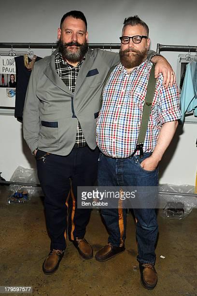 Fashion designers Robert Tagliapietra and Jeffrey Costello backstage the Costello Tagliapietra fashion show during MADE Fashion Week Spring 2014 at...