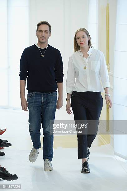 Fashion designers Serge Ruffieux and Lucie Meier walk the runway during the Christian Dior Haute Couture Fall/Winter 20162017 show as part of Paris...
