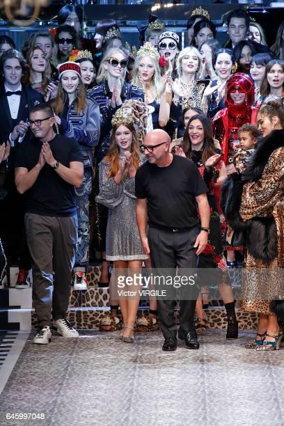 Fashion designers Stefano Gabbana and Domenico Dolce walk the runway at the Dolce Gabbana Ready to Wear fashion show during Milan Fashion Week...