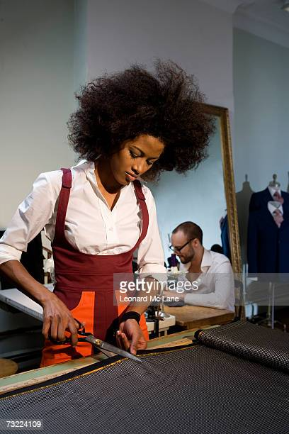 Fashion designers working in fashion studio