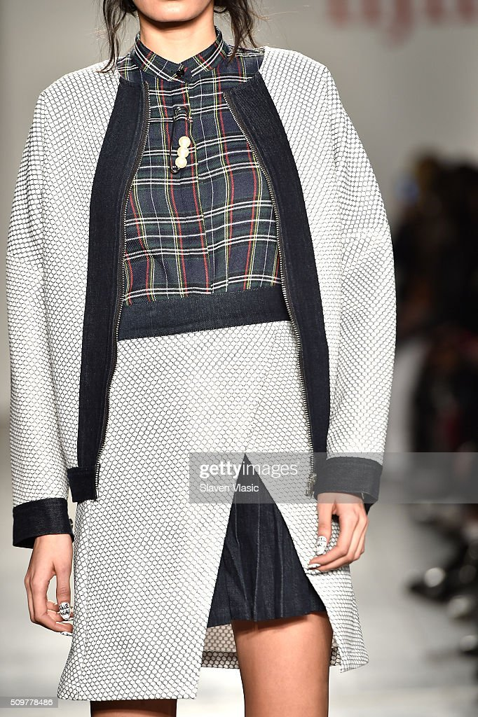 Fashion detail as a model walks the runway wearing iiJin Fall 2016 during New York Fashion Week at Pier 59 on February 12, 2016 in New York City.
