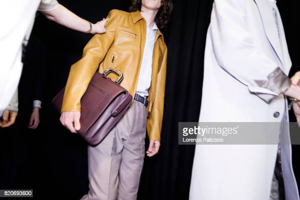 Fashion detail is seen backstage ahead of the Salvatore Ferragamo show during Milan Men's Fashion Week Spring/Summer 2018on June 18 2017 in Milan...