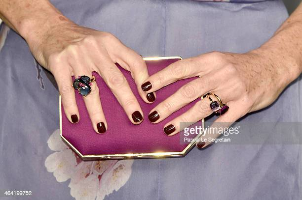 Fashion detail of actress Minnie Driver at the 2015 Vanity Fair Oscar Party hosted by Graydon Carter at Wallis Annenberg Center for the Performing...