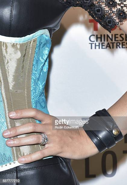 Fashion detail of 'Virtual Reality' Melissa Mars ring and bracelet at the 19th annual Dances with Films Festival Arrivals at Loews Hollywood Hotel on...