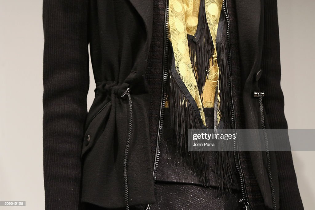 Fashion detail on a model posing during the Hanley - Presentation at The Space, Skylight at Clarkson Sq on February 11, 2016 in New York City.