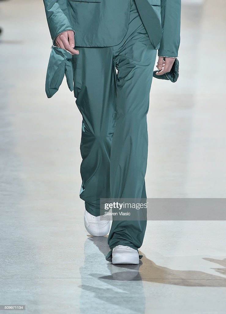 Fashion detail on a model walking the runway wearing Lacoste Fall 2016 during New York Fashion Week at Spring Studios on February 13, 2016 in New York City.
