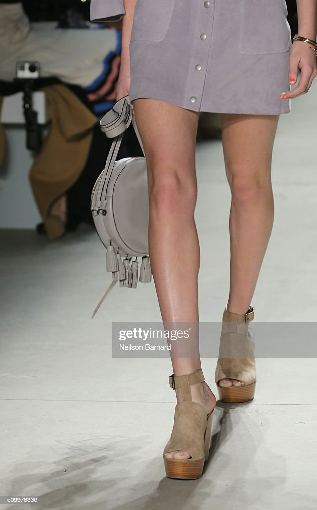 Fashion detail on a model walking the runway wearing Rebecca Minkoff Fall 2016 during New York Fashion Week: The Shows at The Gallery, Skylight at Clarkson Sq on February 13, 2016 in New York City.