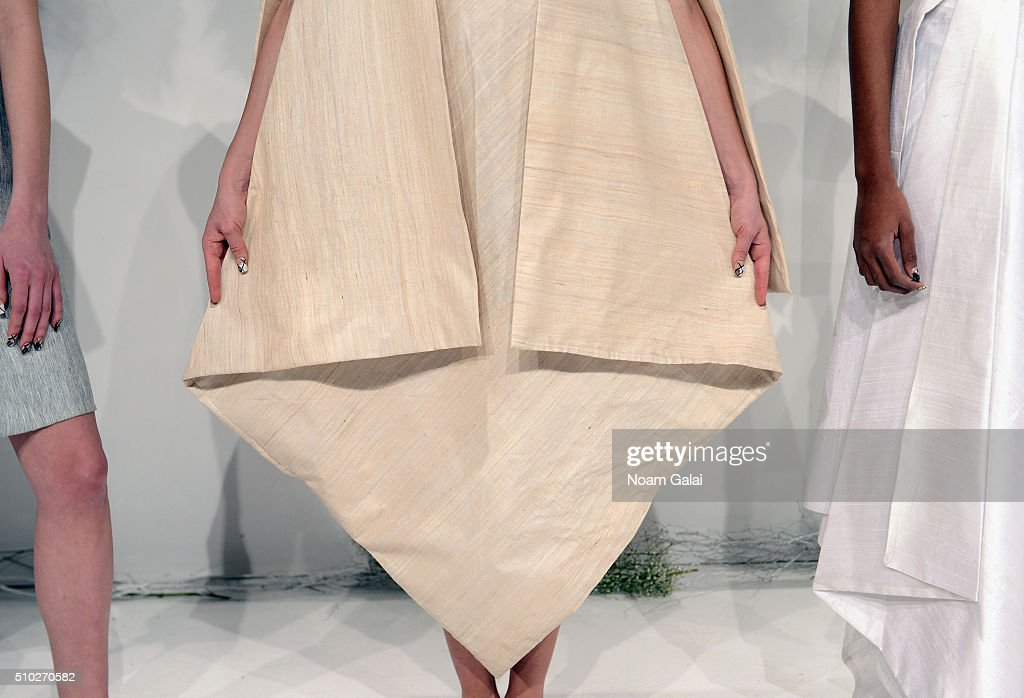 Fashion detail on a model wearing Runa Ray Fall 2016 during New York Fashion Week: The Shows at The Space, Skylight at Clarkson Sq on February 14, 2016 in New York City.