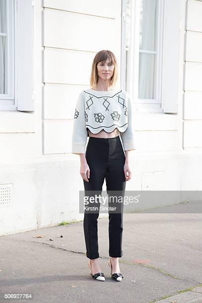 Fashion director and Stylist Anya Ziourova wears all Dior on day 2 of Paris Haute Couture Fashion Week Spring/Summer 2016 on January 25 2015 in Paris...