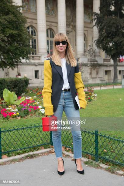 Fashion director at NetAPorter Lisa Aiken wears a Calvin Klein jacket RE/DONE jeans Gianvito Rossi shoes Rayban sunglasses Nico Giani bag day 2 of...