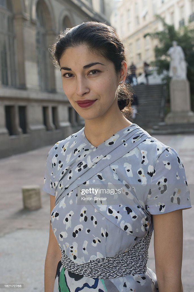Fashion director at Tank magazine <a gi-track='captionPersonalityLinkClicked' href=/galleries/search?phrase=Caroline+Issa&family=editorial&specificpeople=2254046 ng-click='$event.stopPropagation()'>Caroline Issa</a> wears a Micheal Van Der Ham dress on day 4 of Paris Fashion Week Spring/Summer 2014, Paris September 27, 2013 in Paris, France.