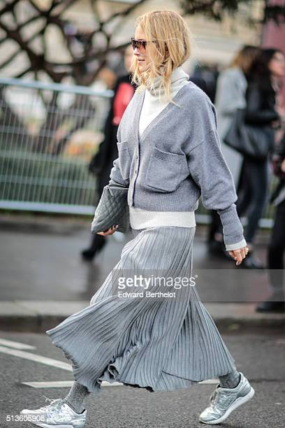 Fashion Director at TheYouWay Pernille Teisbaek is wearing a Chanel bag after the Chloe show during Paris Fashion Week Womenswear Fall Winter...