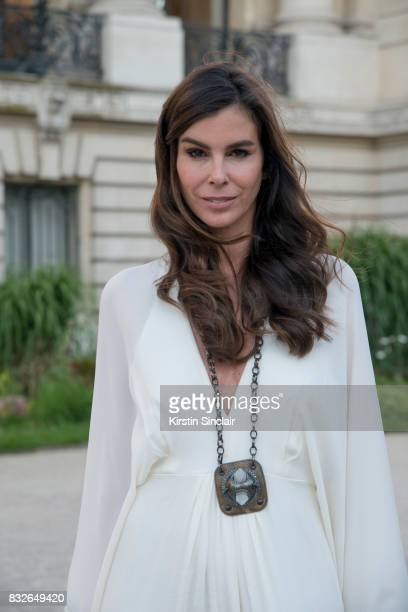 Fashion director Christina Pitanguy wears a Chris Barros dress vintage Lanvin necklace day 2 of Paris Haute Couture Fashion Week Autumn/Winter 2017...