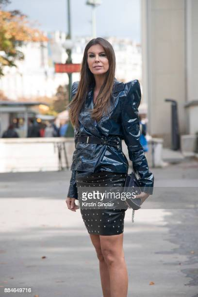 Fashion director Christina Pitanguy wears a Mugler jacket skirt and bag day 5 of Paris Womens Fashion Week Spring/Summer 2018 on September 30 2017 in...