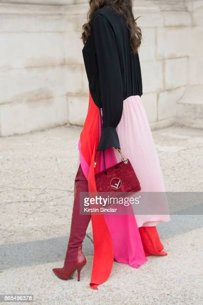 Fashion director Christina Pitanguy wears Fendi boots and bag Lenny Niemeyer dress day 2 of Paris Womens Fashion Week Spring/Summer 2018 on September...