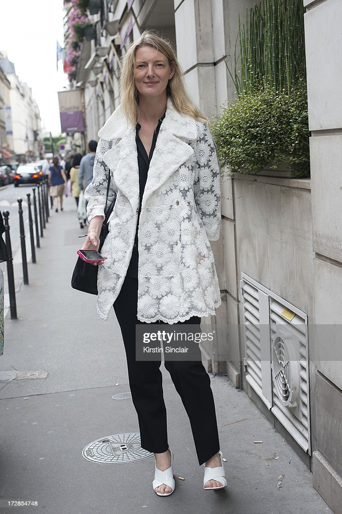 Fashion Director for British Elle Magazine Rebecca Lowthorpe wears a Simone Rocha jacket on day 2 of Paris Collections: Womens Haute Couture on July 02, 2013 in Paris, France.