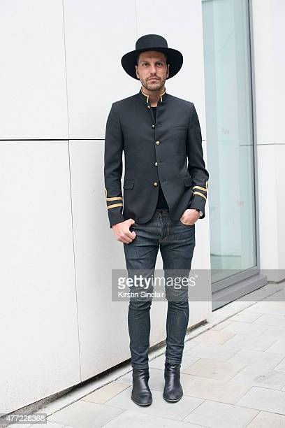 Fashion director for Ecommerce Manuel Marelli wears all Saint Laurent on day 3 of London Collections Men on June 14 2015 in London England