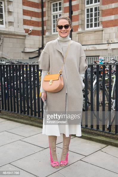 Fashion Director of Avenue 32 Erin Mullaney wears Manolo Blahnik for Alexander Lewis shoes on February 24 2015 in London England