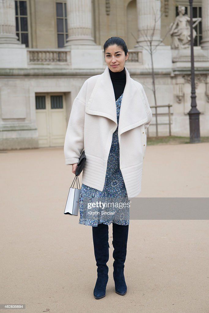 Fashion director of Tank magazine Caroline Issa on day 3 of Paris Haute Couture Fashion Week Spring/Summer 2015 on January 27 2015 in Paris France