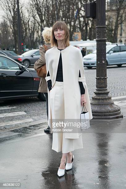 Fashion director of Tatler Russia and Allure Russia Anya Ziourova wears all Celine on day 3 of Paris Haute Couture Fashion Week Spring/Summer 2015 on...