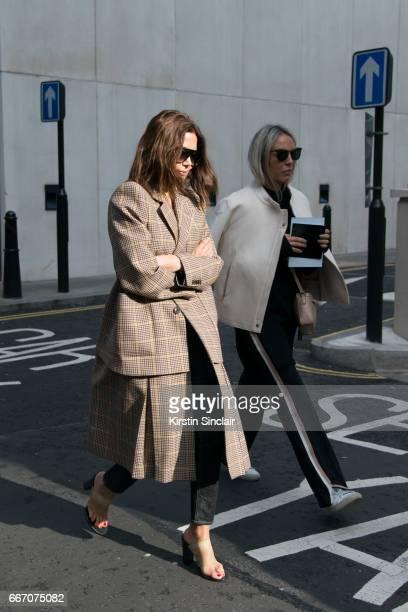 Fashion director of Vogue Australia Christine Centenera wears on day 4 of London Womens Fashion Week Autumn/Winter 2017 on February 20 2017 in London...
