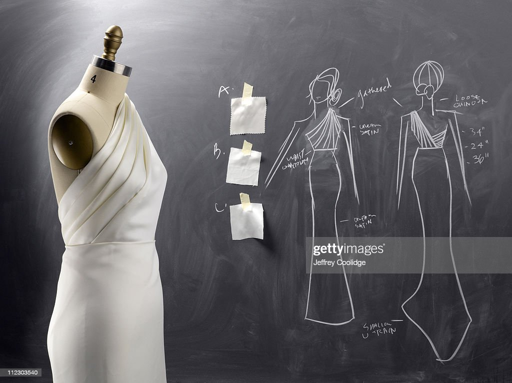 Fashion Drawing and Sewing Form : Stock Photo