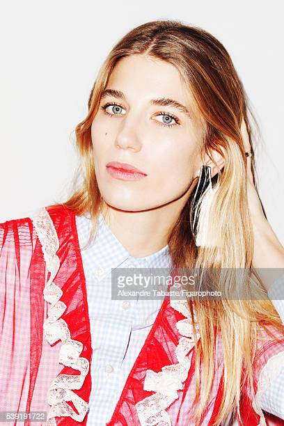 Fashion editor and creator of Hey Woman website Veronika Heilbrunner is photographed for Madame Figaro on March 2 2016 in Paris France Shirts earring...