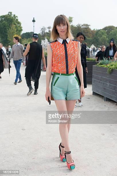 Fashion editor and stylist at Tatler Russia Anya Ziourova wearing Ostwald Helgason on day 5 of Paris Fashion Week Spring/Summer 2014 Paris September...