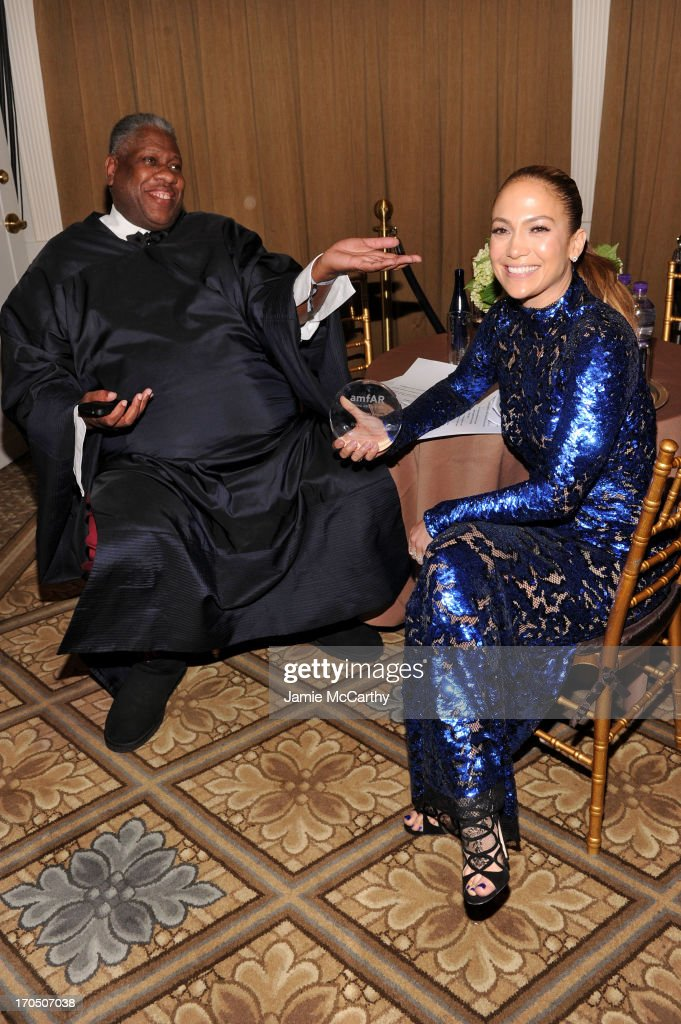 Fashion Editor <a gi-track='captionPersonalityLinkClicked' href=/galleries/search?phrase=Andre+Leon+Talley&family=editorial&specificpeople=171165 ng-click='$event.stopPropagation()'>Andre Leon Talley</a> and <a gi-track='captionPersonalityLinkClicked' href=/galleries/search?phrase=Jennifer+Lopez&family=editorial&specificpeople=201784 ng-click='$event.stopPropagation()'>Jennifer Lopez</a> attend the 4th Annual amfAR Inspiration Gala New York at The Plaza Hotel on June 13, 2013 in New York City.