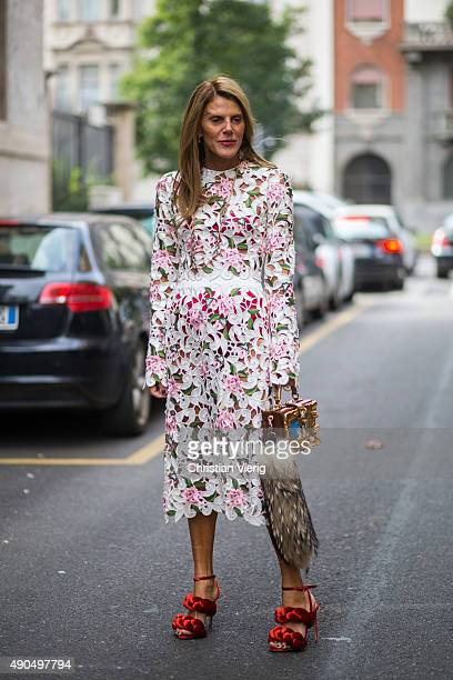 Fashion editor Anna dello Russo wears Dolce Gabbana dress and bag and Marco de Vincenzo shoes during Milan Fashion Week Spring/Summer 16 on September...