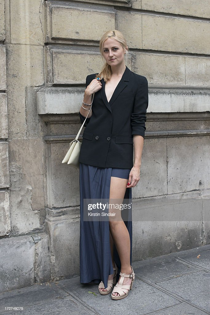 Fashion editor at Fashionising.com Tania Braukamper wears a Zara jacket, Acne skirt, Bul shoes and a Solar bag on day 3 of Paris Collections: Womens Haute Couture on July 03, 2013 in Paris, France.