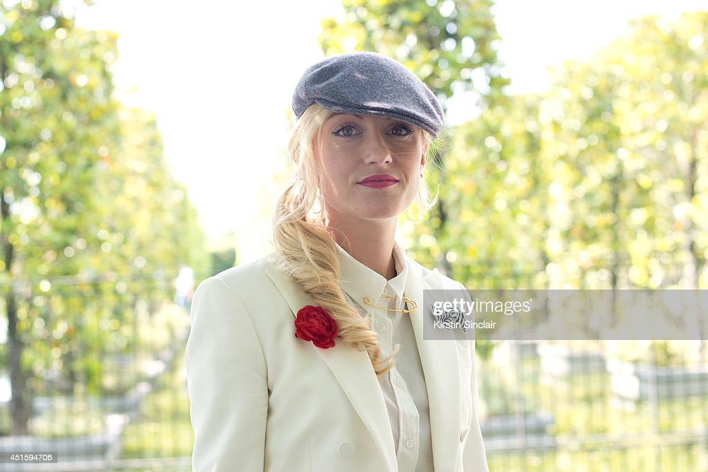Fashion Editor at The Rake magazine Sarah Anne Murray wearing a Borcelino hat and a Ralph Lauren jacket on day 2 of Paris Collections: Men on June 26, 2014 in Paris, France.