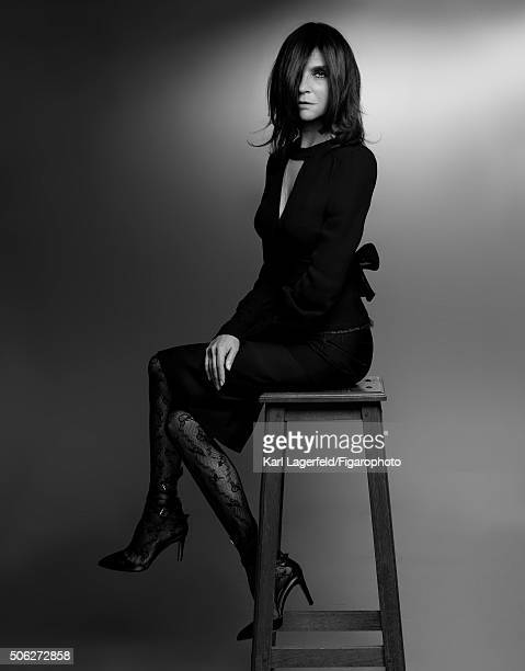 Fashion editor Carine Roitfeld is photographed for Madame Figaro on November 18 2015 in Paris France Top skirt tights shoes jewelry personal...