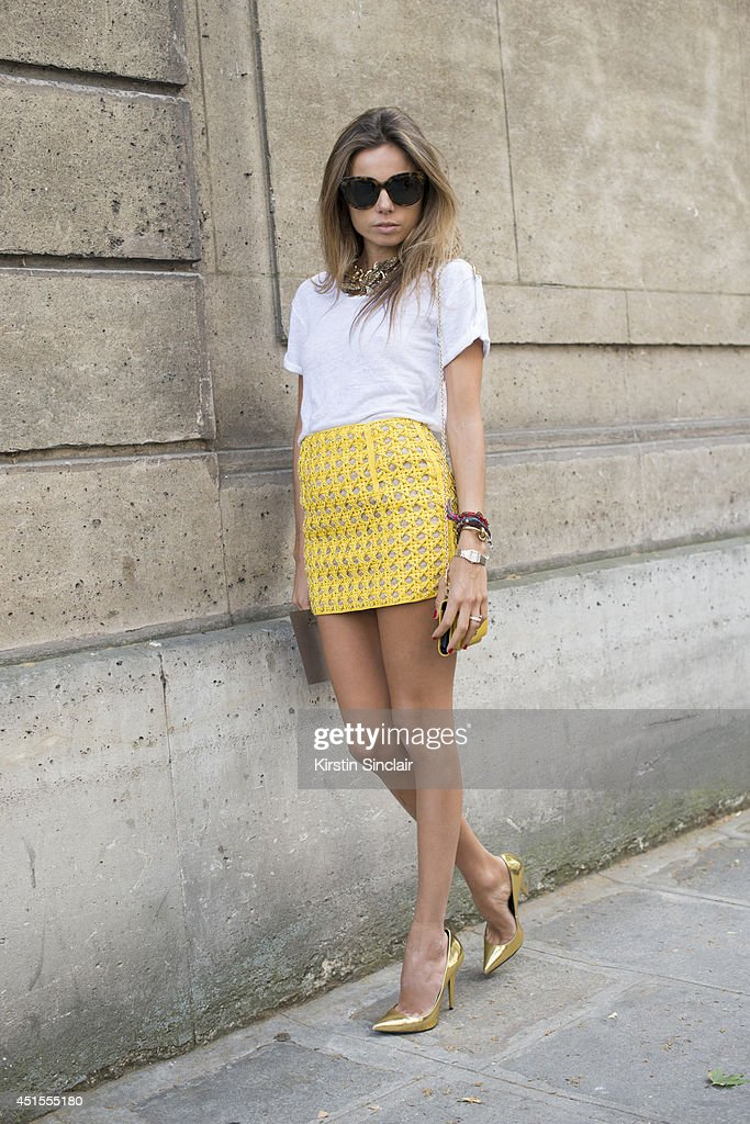Fashion Editor Erica Pelosini on day 1 of Paris Collections: Men on June 25, 2014 in Paris, France.