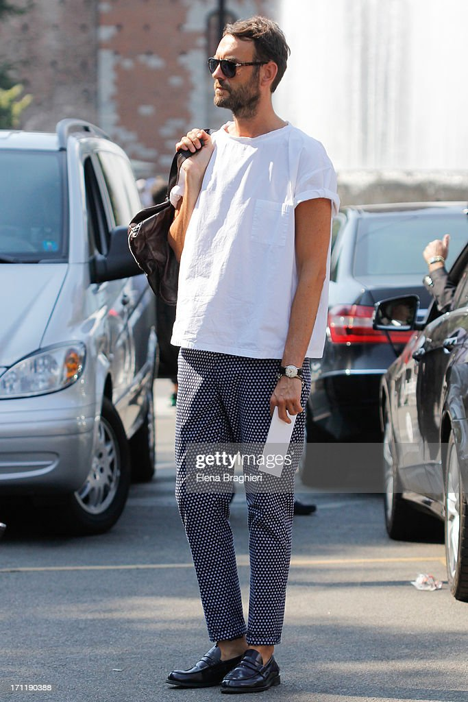 Fashion editor Federico Rocca during Milan Fashion Week Menswear Spring/Summer 2014 on June 22, 2013 in Milan, Italy.