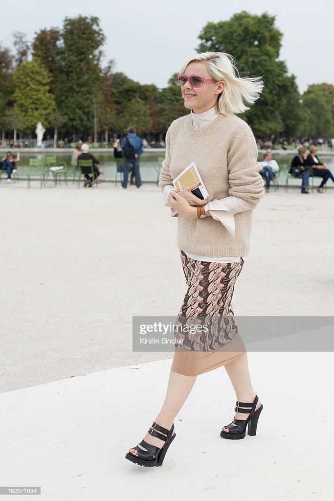 Fashion editor for British Vogue Francesca Burns on day 3 of Paris Fashion Week Spring/Summer 2014, Paris September 26, 2013 in Paris, London.
