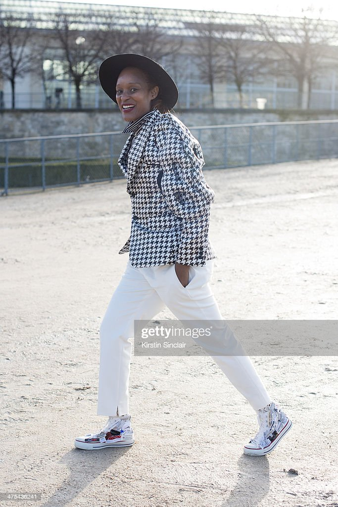 Fashion Editor for Garage Magazine Michelle Ellie wears Comme des Garcon on day 3 of Paris Collections: Women on February 27, 2014 in Paris, France.